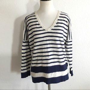 Madewell women's striped V-neck sweater medium